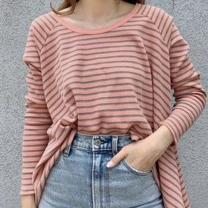 Pink Free People Striped Thermal Long Sleeve Top S
